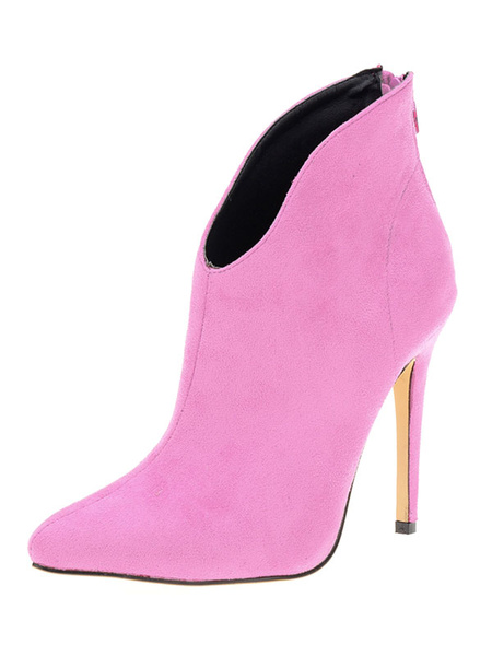 Milanoo Women Ankle Boots Suede High Heel Pointed Toe Zipper Booties For Women