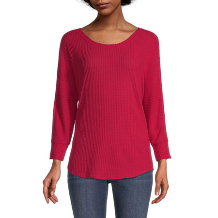 by&by-Juniors Womens Round Neck Long Sleeve Tunic Top, Medium , Red