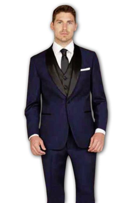 Men's 1 Button Shawl Lapel Slim Fit Blue Vest Tuxedo Suit