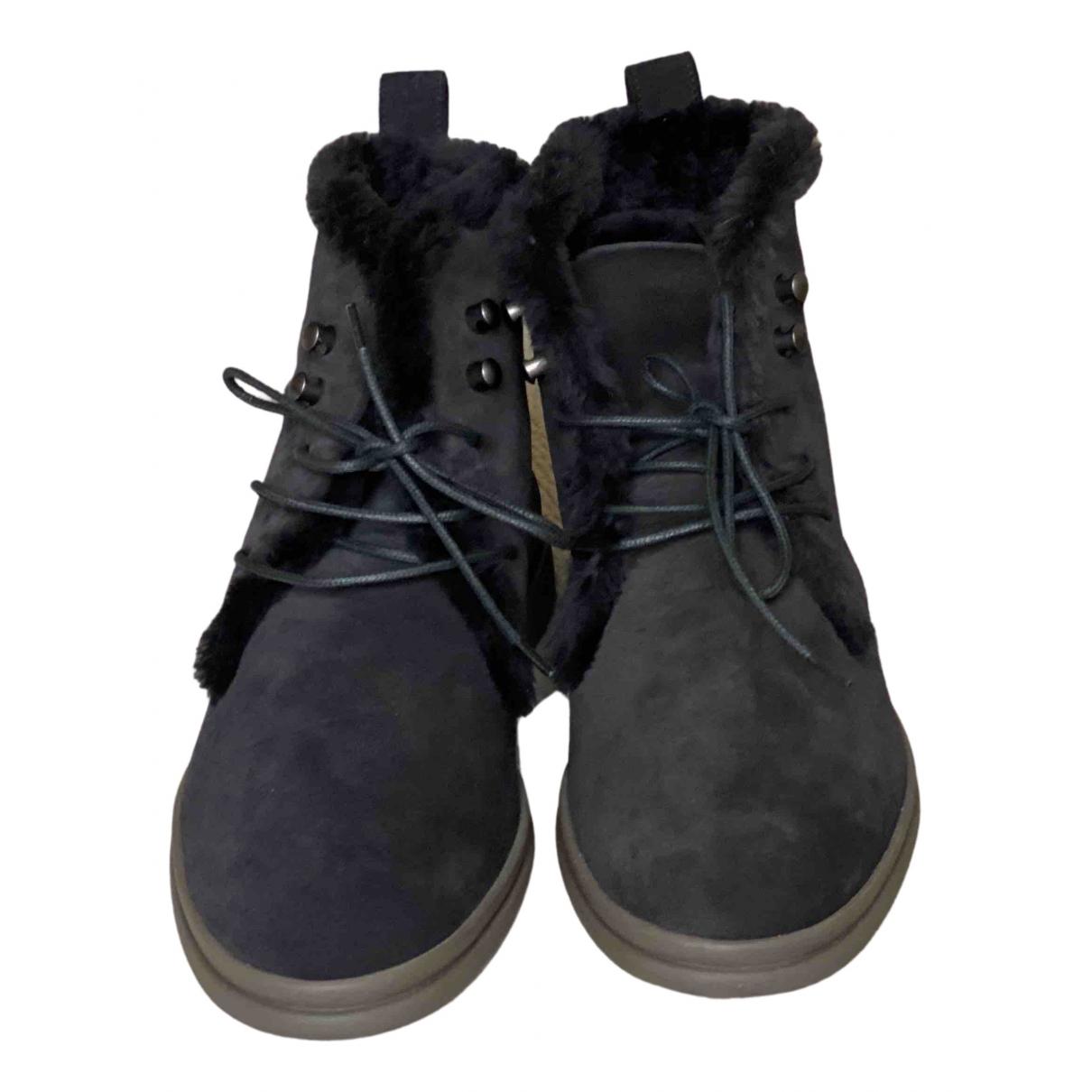 Loro Piana - Boots   pour femme en suede - bleu