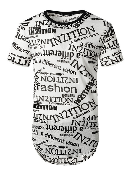 Milanoo Graphic T Shirts Letters Print Short Sleeves Tee Tops