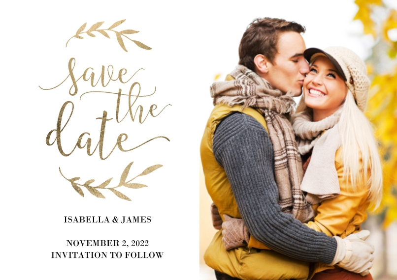 Save the Date 5x7 Cards, Premium Cardstock 120lb with Rounded Corners, Card & Stationery -Wedding Save the Date Laurels by Tumbalina