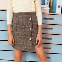 Girls Flap Pocket Side Button Front Asymmetrical Skirt
