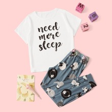 Conjunto de pijama de niñas con estampado de slogan y oveja de dibujos animados