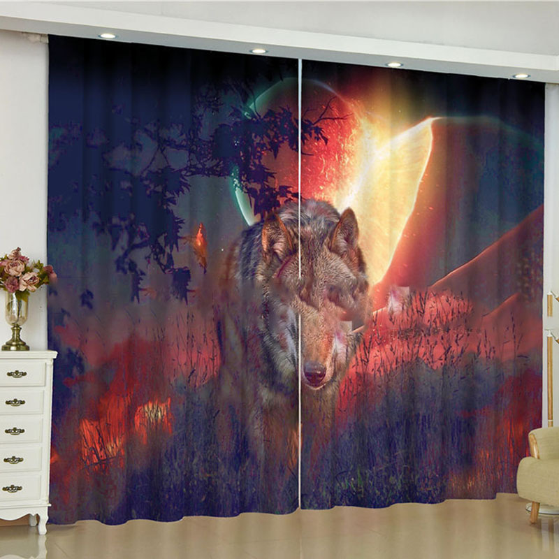 Fantastic 3D Wolf Print Blackout Curtains No Pilling No Fading No off-lining Polyester Curtains