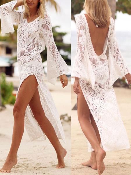 Milanoo Mujer Blanco Cobertura 2020 con Cuello en V con Mangas Largas Split de Encaje Vestido de Playa