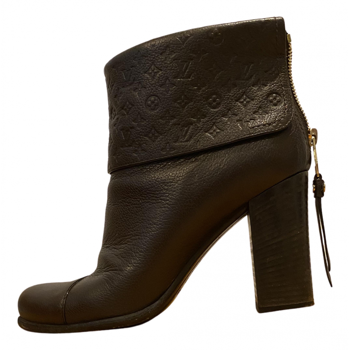 Louis Vuitton - Boots   pour femme en cuir - marron