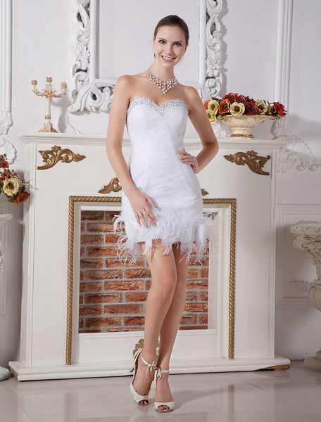 Milanoo Chic White Feather Sweetheart Neck Sheath Net Wedding Dress For Bride