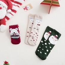 3 Paare Kleinkind Kinder Socken mit Weihnachten Karikatur Grafik