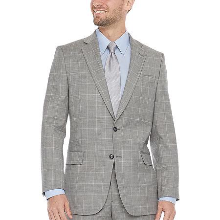 Stafford Super Mens Windowpane Classic Fit Suit Jacket, 52 Regular, Gray