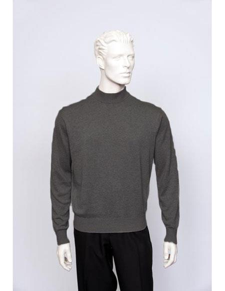 Mens Silk Blend Brighton Long Sleeve Mock Neck Fine Gauge Knit Sweater