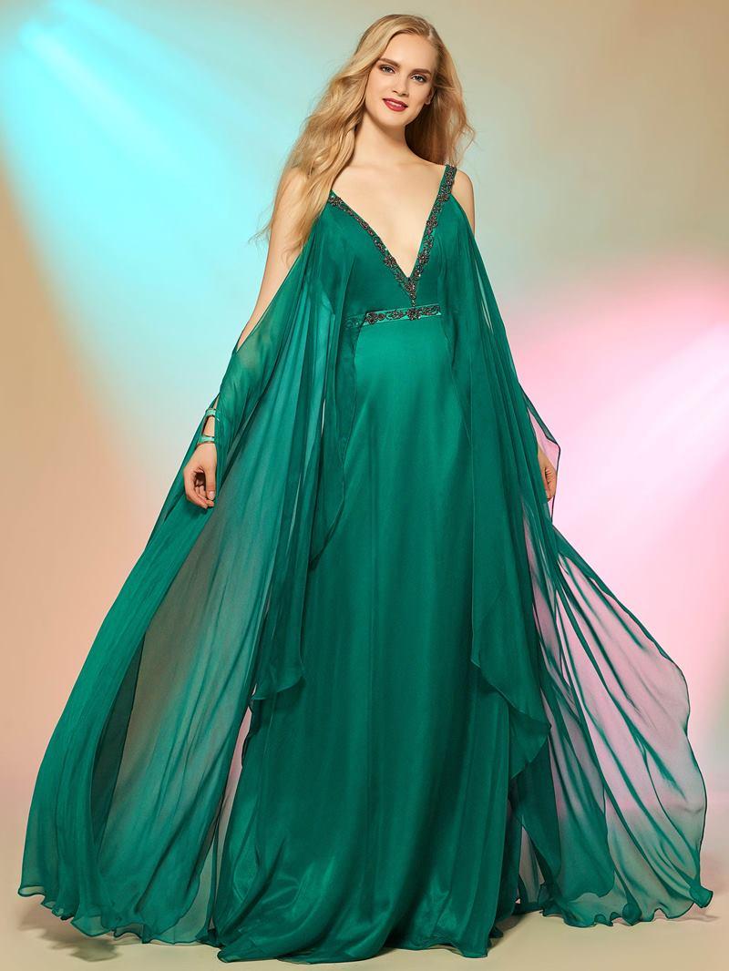 Ericdress Stylish A Line Straps V Neck Beaded Deep Back Evening Party Dress