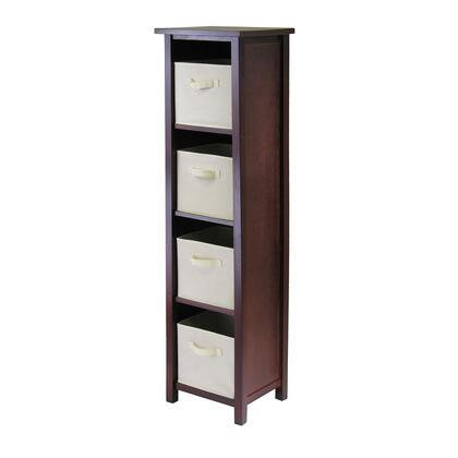 94861 Verona 4-Section N Storage Shelf in Walnut with 4 Foldable Beige Fabric
