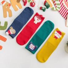 4 Paare Kleinkind Kinder Socken mit Weihnachten Karikatur Grafik
