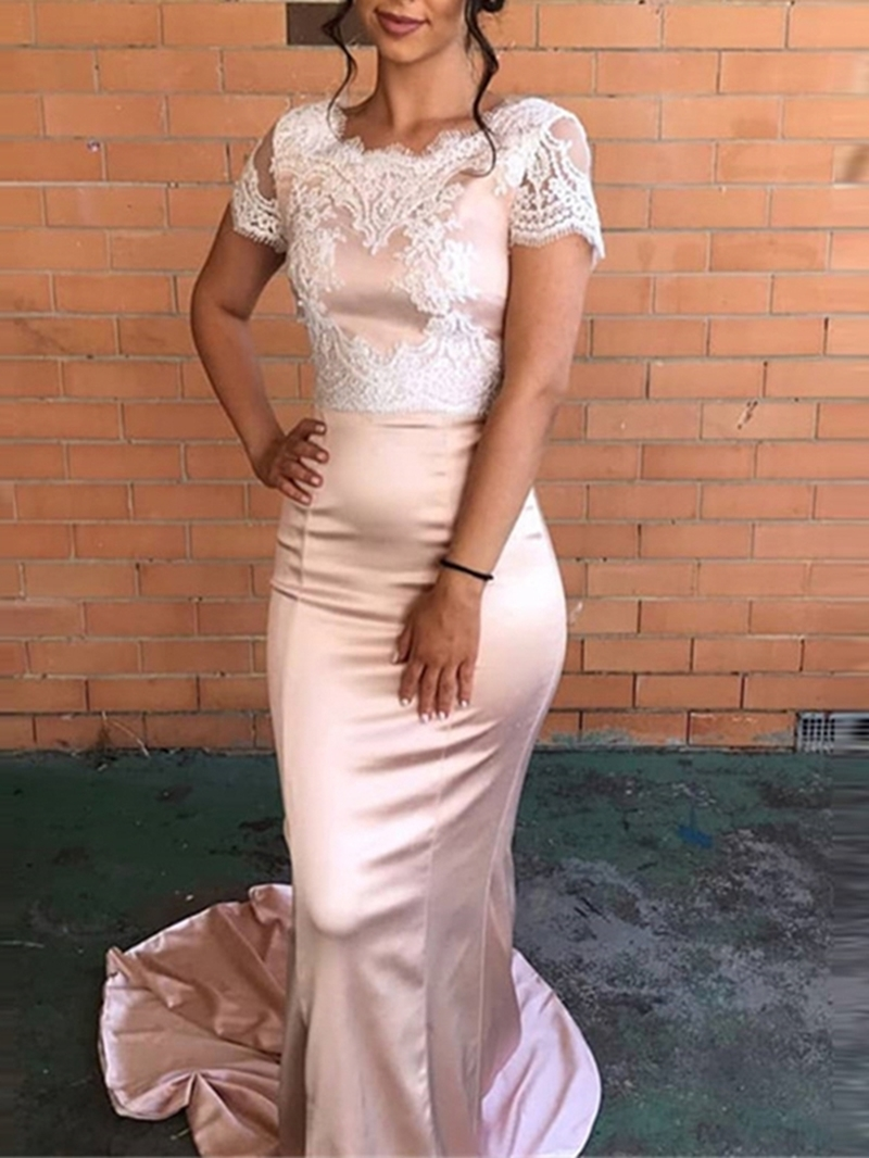 Ericdress Lace Cap Sleeves Mermaid Evening Dress