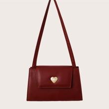 Bolso de hombro con diseño de corazon con perla artificial minimalista