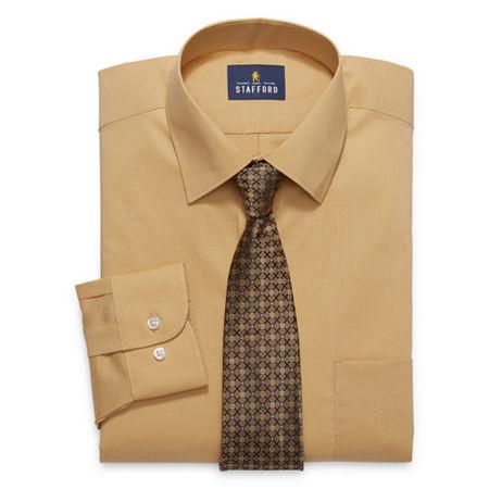 Stafford Mens Spread Collar Long Sleeve Stretch Dress Shirt + Tie, 18-18.5 34-35, Beige