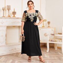 Plus Floral Embroidered Mesh Panel A-line Dress