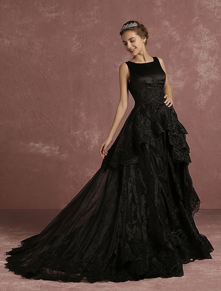 Milanoo Black Wedding Dress Lace Applique Tiered Bridal Gown A Line Sleeveless Crewneck Bridal Dress With Court Train