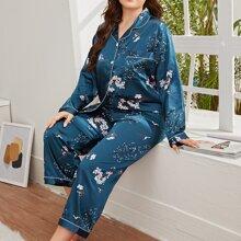 Plus Floral Print Satin Pajama Set