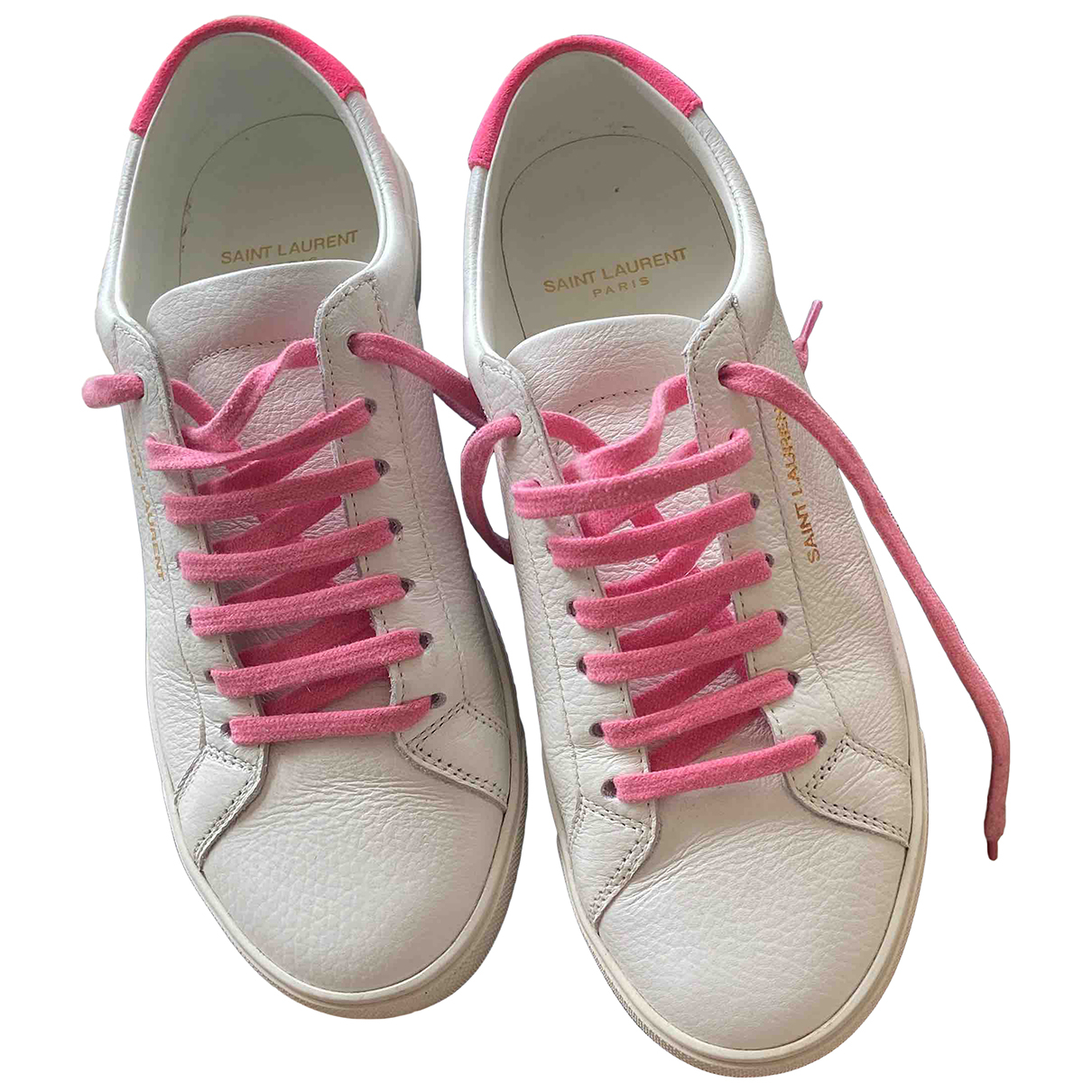 Saint Laurent Andy White Leather Trainers for Women 37 EU