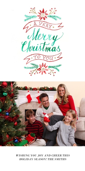 Christmas Photo Cards Flat Glossy Photo Paper Cards with Envelopes, 4x8, Card & Stationery -Floral Christmas Wishes