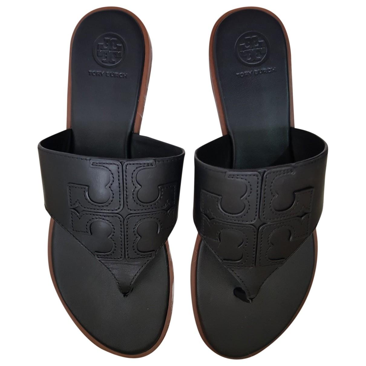 Tory Burch - Sandales   pour femme en cuir - noir