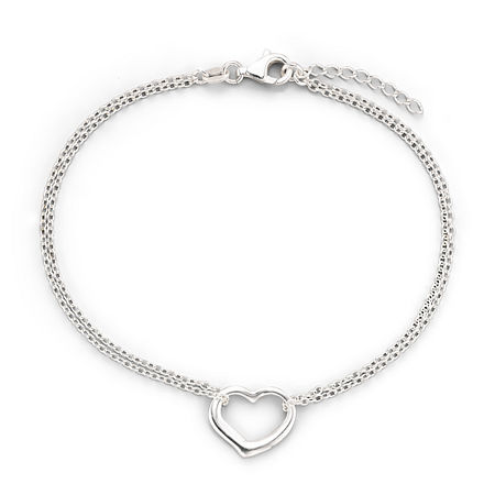 Made in Italy Stering Silver 10 Heart Station Ankle Bracelet, One Size , No Color Family