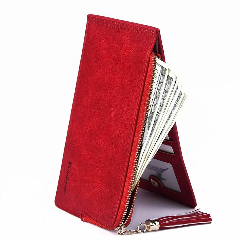 Women Retro Mulri-slots 13 Card Slots Long Card Holder Coin Bag Phone Bag Wallets
