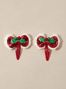 2 piezas horquilla con lazo de navidad