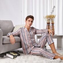 Men Lapel Striped Button Front PJ Set