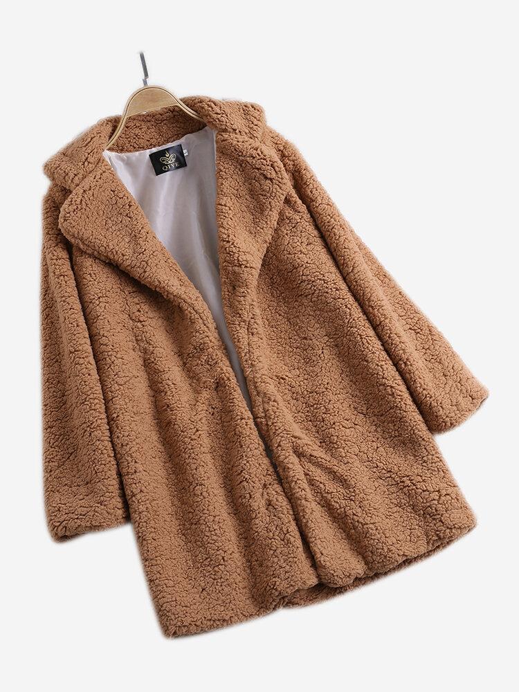 Elegant Fleece Notch Collar Thicken Coat