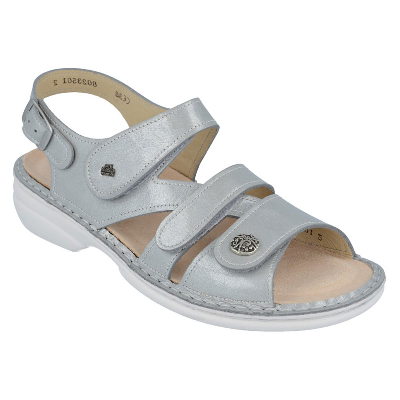 Finn Comfort Gomera Grey Patent Leather Soft Footbed 40