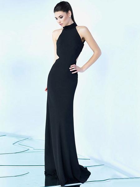 Milanoo Women Maxi Dress Sleeveless High Collar Backless Evening Dress