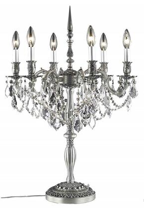 9206TL20PW/SA 9206 Rosalia Collection Table Lamp D20in H28.5in Lt: 6 Pewter Finish (Swarovski Spectra