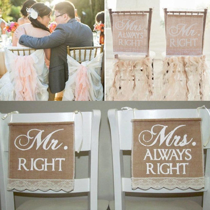 Mr Right Mrs Always Right Wedding Chair Bunting Hessian Burlap Banner Decoration