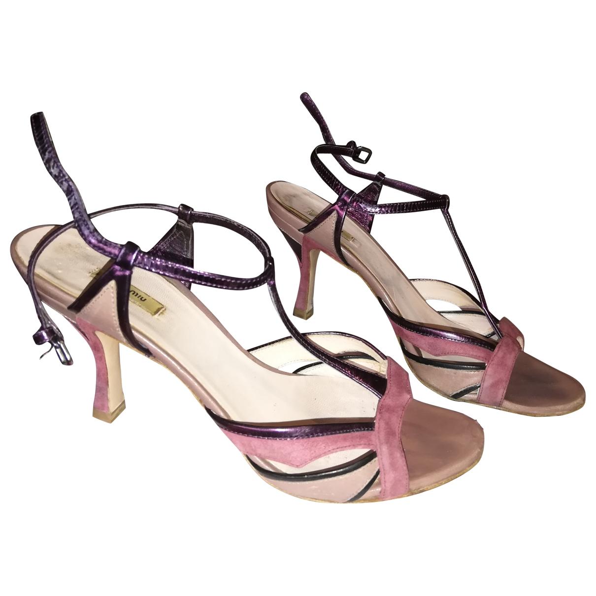 Miu Miu - Sandales   pour femme en suede - rose