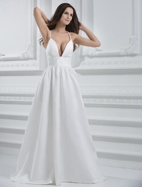 Milanoo Ivory A-line Spaghetti Pleated Taffeta Wedding Dress For Bride