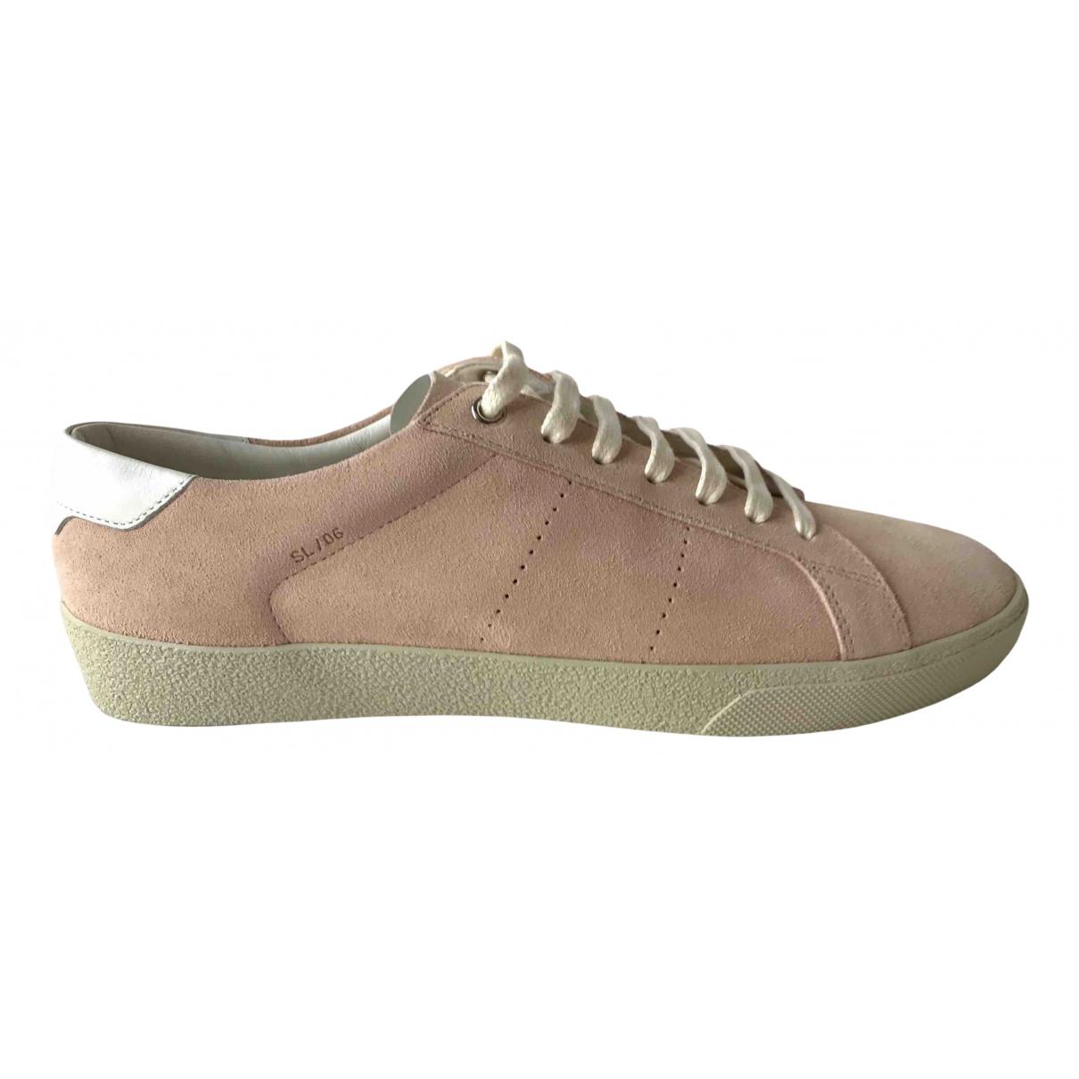 Saint Laurent SL/06 Sneakers in  Rosa Veloursleder