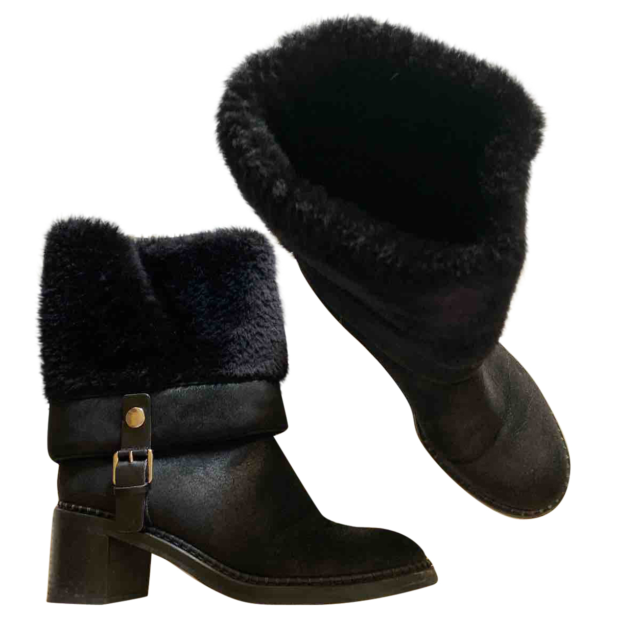 Casadei N Black Shearling Ankle boots for Women 39 EU