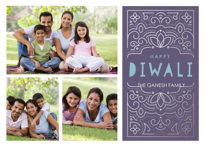 Diwali Cards 5x7 Cards, Standard Cardstock 85lb, Card & Stationery -Happy Diwali Ornate Foil Purple