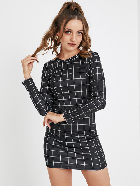 YOINS Black Plaid Round Neck Long Sleeves Dress