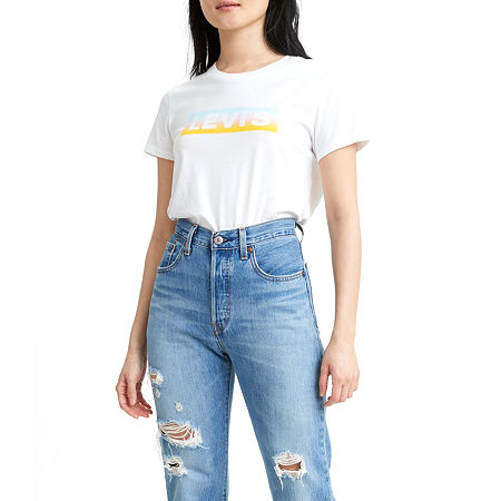 Levi's The Perfect Tee-Womens Crew Neck Short Sleeve T-Shirt, Large , White