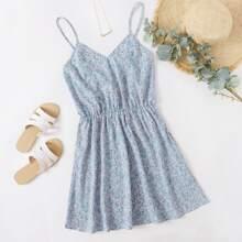 Slip Kleid mit Bluemchen Muster