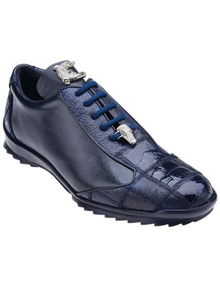 Men's Belvedere Paulo Genuine Ostrich Blue Casual Sneakers