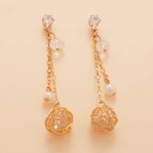 1pair Hollow ball Faux Pearls Drop Earrings