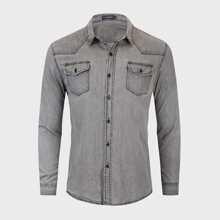 Camisa denim con puntada en contraste con bolsillo