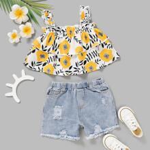 Toddler Girls Floral Cami Top & Ripped Denim Shorts