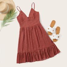 Cami Kleid mit Bluemchen Muster und Raffungsaum