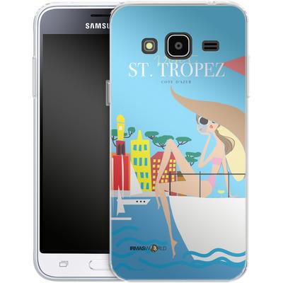 Samsung Galaxy J3 (2016) Silikon Handyhuelle - ST TROPEZ TRAVEL POSTER von IRMA